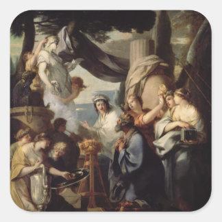 Solomon making a sacrifice to the idols square sticker