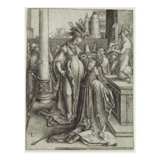 Solomon ruega delante de una imagen grabada, tarjeta postal