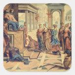 Solomon y la reina de Sheba Pegatina Cuadrada