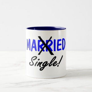 Solos divorciada (azul) taza de café de dos colores