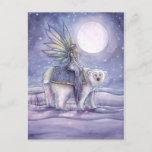 Solstice Fairy and Polar Bear Art Postcard