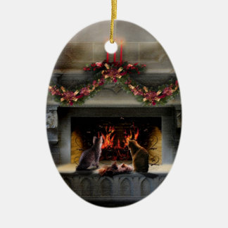 Solstice Firelight Kitties Ceramic Ornament