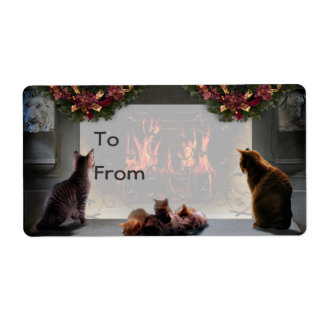 Solstice Kitties Gift Tag Personalized Shipping Label
