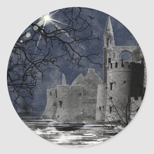 Solstice Night Gothic Landscape Classic Round Sticker
