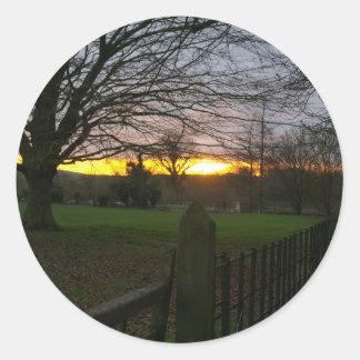 Solstice Sunset Round Stickers