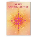 Solsticio de invierno con el sol y los copos de ni tarjetas