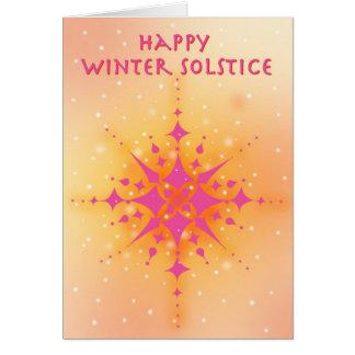 Solsticio de invierno con el sol y los copos de ni tarjeta de felicitación