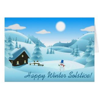 ¡Solsticio de invierno feliz! Muñeco de nieve Tarjeta De Felicitación