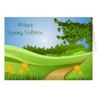 Solsticio de la primavera de Ostara con el campo y Tarjeta De Felicitación
