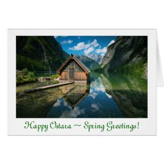 Solsticio de la primavera de Ostara con la casa Tarjeta De Felicitación