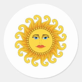 solsticio de verano pegatina redonda