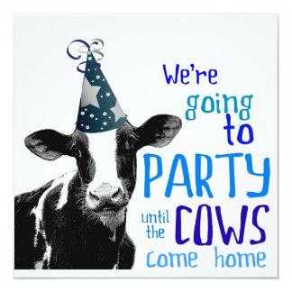 """Soltero de la vaca o fiesta divertido de invitación 5.25"""" x 5.25"""""""