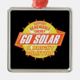 Solución de energía solar adorno navideño cuadrado de metal