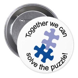 Solucione el botón del rompecabezas pin redondo de 3 pulgadas