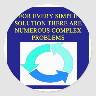 solutions and problems proverbs classic round sticker
