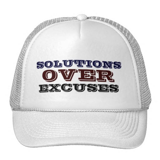 Solutions Over Excuses Men's - Women's White Hat.