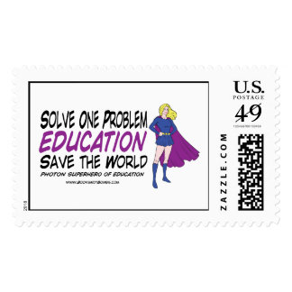 Solve One Problem Education Save the Entire World Stamp
