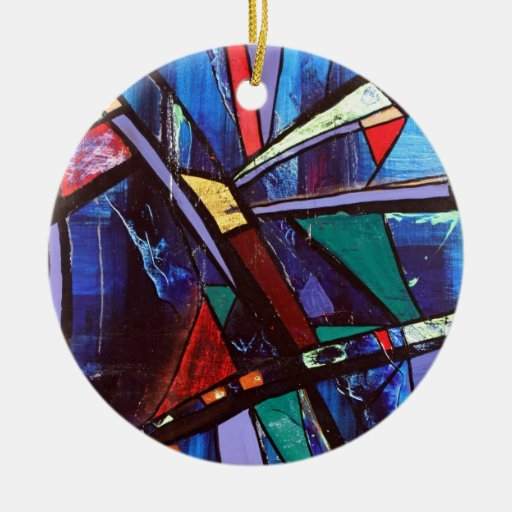 Soma original abstract Double-Sided ceramic round christmas ornament