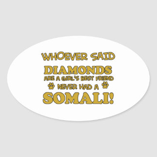 Somali cat breed designs oval sticker