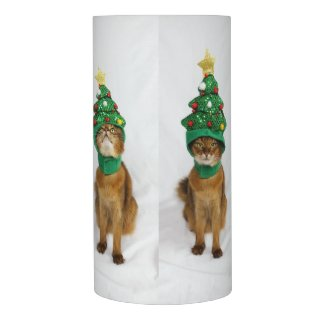 Somali Cat Funny Christmas Tree Hat x 4 Flameless Candle