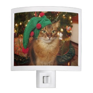 Somali Cat Holiday Elf Night Light