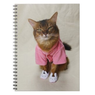 Somali Cat in Robe and Slippers Notebook