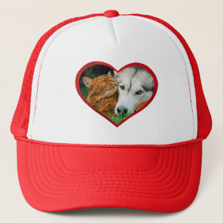 Somali Cat Siberian Husky Cute Love Heart - cup Trucker Hat
