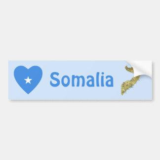 Somalia Flag Heart + Map Bumper Sticker