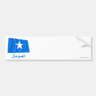 Somalia Waving Flag with Name in Arabic Bumper Stickers