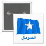 Somalia Waving Flag with Name in Arabic Pins