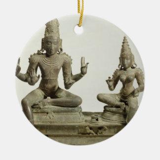 Somaskanda, Chola, Tamil Nadu (bronce) Adorno Navideño Redondo De Cerámica