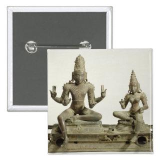 Somaskanda, Chola, Tamil Nadu (bronce) Pin Cuadrado
