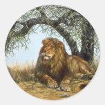 Sombra africana, león etiqueta redonda