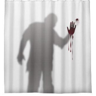 Sombra asustadiza y espantosa de la silueta del cortina de baño