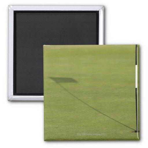 sombra de la bandera del golf en verde del campo d imanes