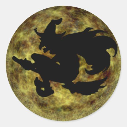Sombra de la bruja de la luna del KRW Halloween Pegatina Redonda