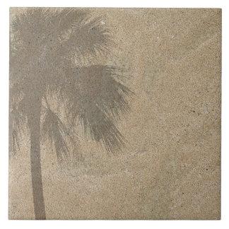 Sombra de la palmera en el fondo de la arena de la azulejo cuadrado grande
