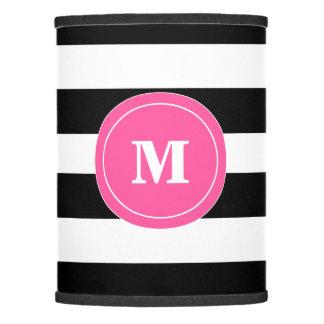 Sombra de lámpara negra y rosada del monograma de
