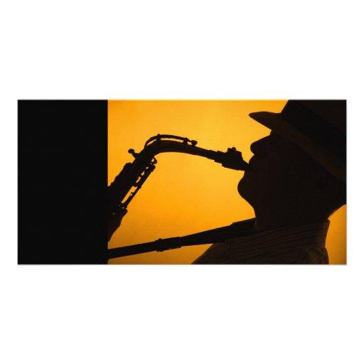 Sombra del saxofón o tarjeta de la foto de la silu tarjetas personales con fotos