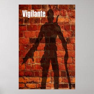 Sombra del vigilante en el poster de la pared de