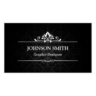 Sombra elegante del damasco - blanco y negro tarjetas de visita
