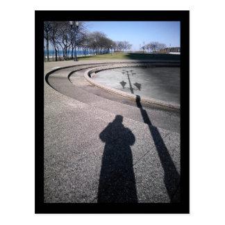 sombra larga:: pasos verdes olivas de la fuente tarjeta postal