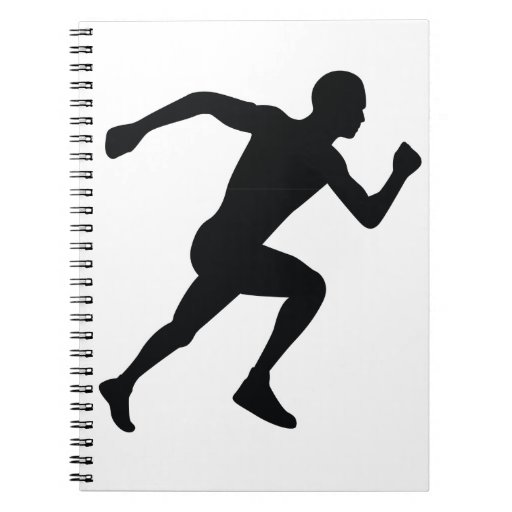 Sombra negra de la silueta del corredor spiral notebooks