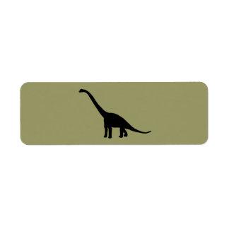 Sombra negra Dino del dinosaurio del Brontosaurus Etiqueta De Remite