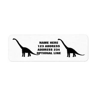 Sombra negra Dino del dinosaurio del Brontosaurus Etiqueta De Remitente