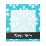 Sombras de flores y de puntos pintados azul blocs de papel