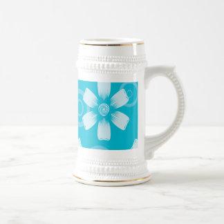 Sombras de flores y de puntos pintados azul jarra de cerveza