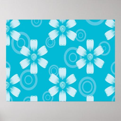 Sombras de flores y de puntos pintados azul póster