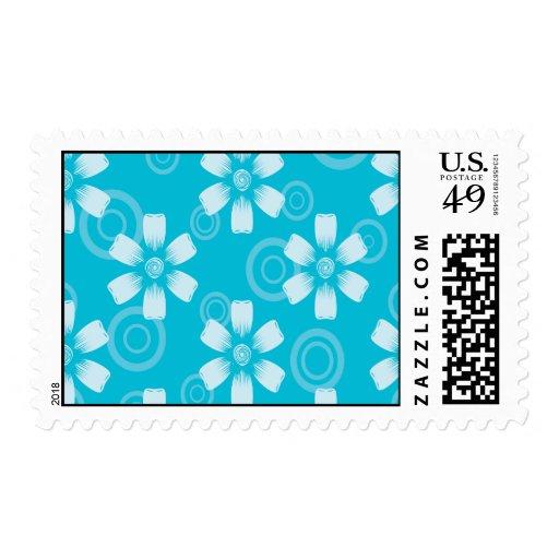 Sombras de flores y de puntos pintados azul sellos