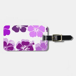 Sombras de hibiscos púrpuras etiquetas de equipaje